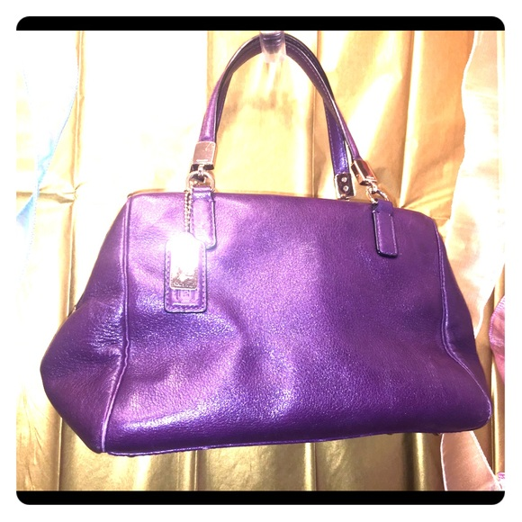 Coach Handbags - Coach's Purple Leather Satchel/ updating
